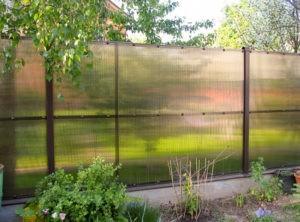Забор из поликарбоната садовый